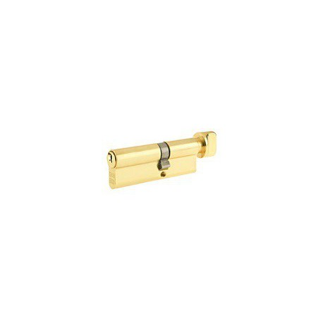 5 Pin 35mm x 35mm Euro Profile Cylinder & Turn Polished Brass