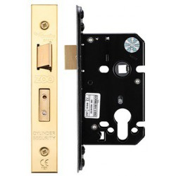 64mm Euro Profile Mortice Sashlock  Casec/w 48mm Backset & 48mm Centres - Polished Brass