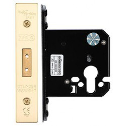 76mm Euro Profile Mortice Deadlock  Case Only c/w 57mm Backset - Polished Brass
