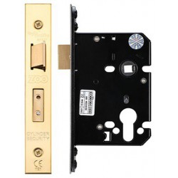 76mm Euro Profile Mortice Sashlock  Casec/w 57mm Backset & 48mm Centres - Polished Brass