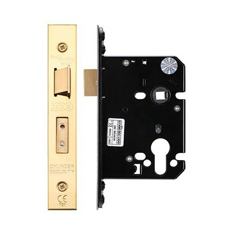 76mm Euro Profile Mortice Sashlock  Casec/w 57mm Backset & 48mm Centres Polished Brass